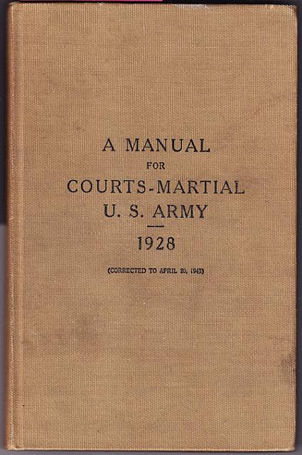 A Manual for Courts-Marshal U.S. Army 1925 hc $5.00
