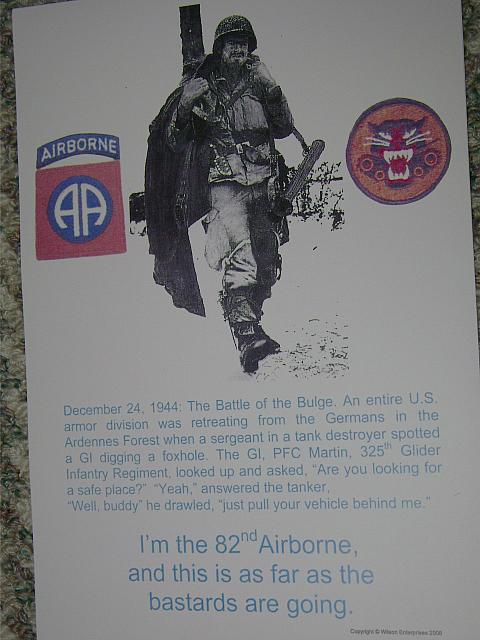"Poster 82nd Airborne ""This is as far as the bastards are going"" $5.00"