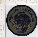 USAF Civil Engineering PRIME BEEF blue letters me rfu $1.50