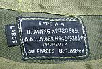WW2 Type A-9 Pilot cap LABEL for previous photo.