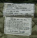 Army M-65 Field Jacket liner label